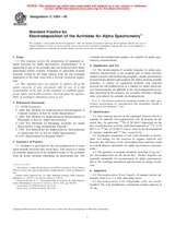 ASTM C1284-00 10.1.2000 - Standard Practice for Electrodeposition of the Actinides for Alpha Spectrometry