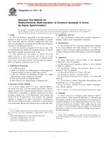 ASTM C1473-00 10.6.2000 - Standard Test Method for Radiochemical Determination of Uranium Isotopes in Urine by Alpha Spectrometry