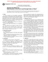 ASTM D5731-95 1.1.1995 - Standard Test Method for Determination of the Point Load Strength Index of Rock