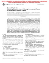 ASTM E964-93(1998)e1 1.1.1998 - Standard Practice for Measuring Benefit-to-Cost and Savings-to-Investment Ratios for Buildings and Building Systems